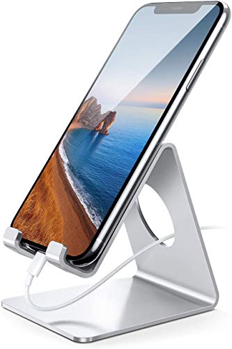 Lamicall Cell Phone Stand, Desk Phone Holder Cradle Compatible with Phone 11 Pro Xs Max XR X 8 7 6 Plus SE, All Smartphones Charging Dock, Desktop Accessories - Silver
