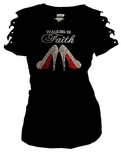 in Faith Bling Rhinestones T-Shirt Ripped Cut Out Short Easter (Medium) Black