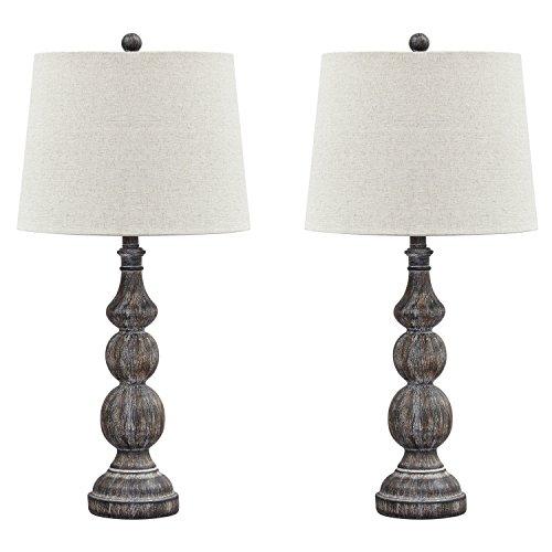 Signature Design by Ashley - Mair Poly Table Lamp - Farmhouse Style - Timeworn Finish - Black