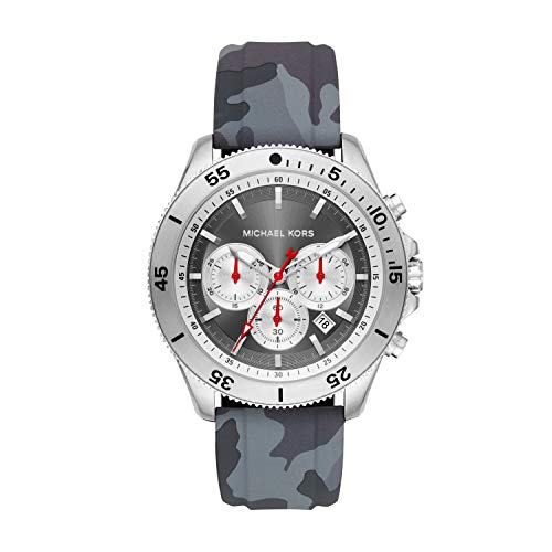 Michael Kors Men's Theroux Stainless Steel Quartz Watch with Silicone Strap, Gray, 22 (Model: MK8710)