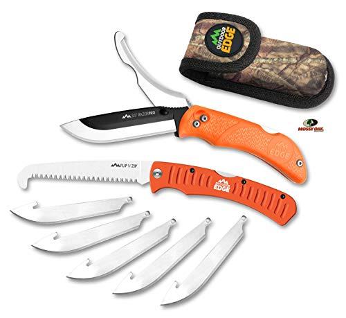 Outdoor Edge RazorPro - Double Blade Folding Hunting Knife with 3.5' Replaceable Razor Blade, Gutting Blade, Folding Wood/Bone Saw and Nylon Sheath