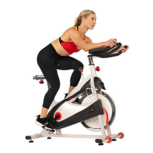 Sunny Health & Fitness Spin Bike Indoor Cycling Exercise Bike with SPD pedals - SF-B1509, White