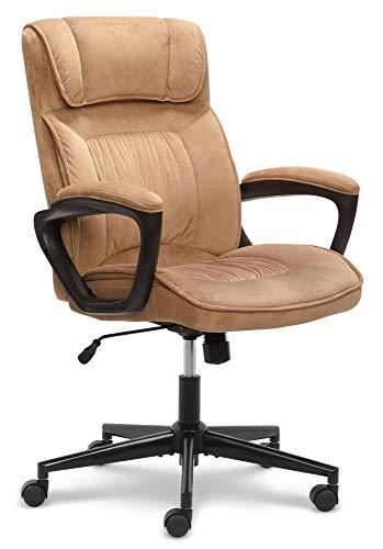 Serta Hannah Microfiber Office Chair with Headrest Pillow, Adjustable Ergonomic with Lumbar Support, Soft Fabric, Beige