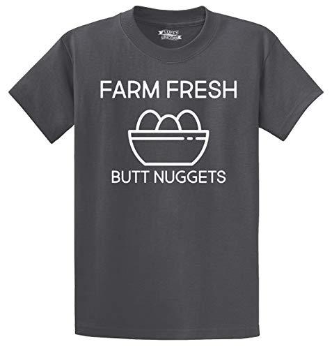 Comical Shirt Men's Heavyweight Tee Farm Fresh Butt Nuggets Charcoal XL
