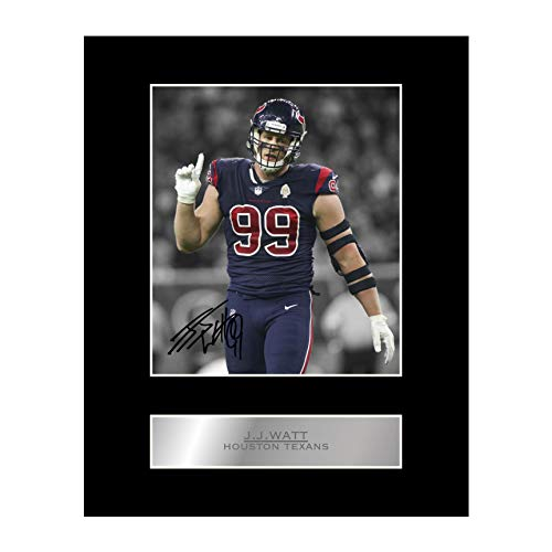 J. J. Watt Signed Mounted Photo Display Houston Texans #05 NFL Printed Autograph Gift Picture Print