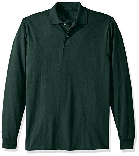 Jerzees Men's Spot Shield Long Sleeve Polo Sport Shirt, Forest Green, Large