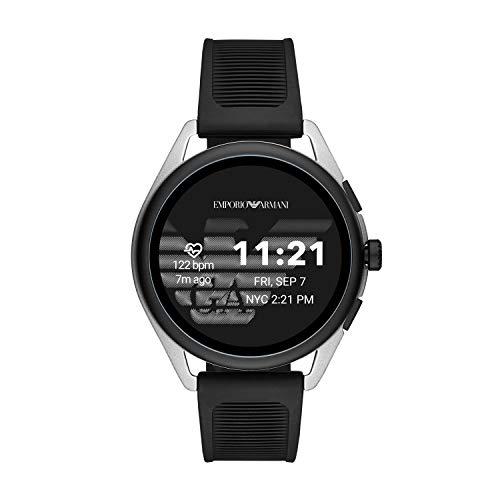 Emporio Armani Men's Smartwatch 3 Touchscreen Aluminum and Rubber Smartwatch, Black and silver-ART5021