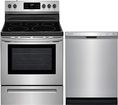 Frigidaire 2 Piece Kitchen Appliances Package with FFEF3054TS 30' Electric Range and FFCD2418US 24' Built In Dishwasher in Stainless Steel