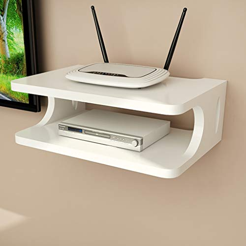 LXYFMS Wall Mount Bracket TV Box Set-top Box Modem Cable Box for WiFi Router DVD Player Streaming Device Router Rack (Color : White)