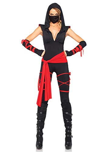 Leg Avenue Women's Deadly Ninja Costume, Black/Red, Large