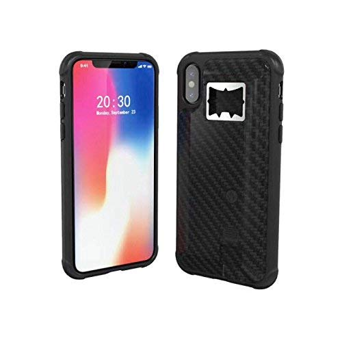 YaMeiDa Phone Case with Cigarette Lighter and Beer Bottle Opener for iPhone XR Cell Phone Skins Protective Cover Durable Shockproof Heavy Duty Hidden Locked Electronic Lighter -Black