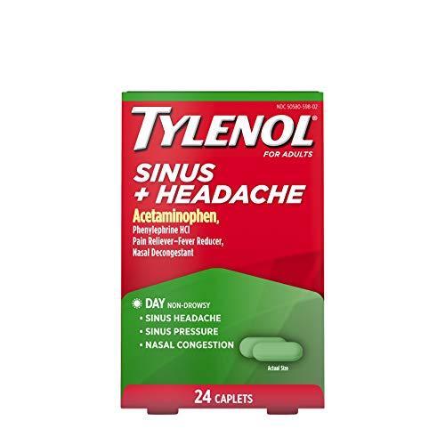 Tylenol Sinus + Headache Non-Drowsy Caplets, Sinus Pressure & Congestion Relief, 24 ct