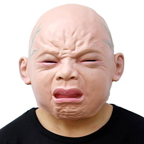 CreepyParty Releastic Human Mask Novelty Halloween Costume Party Latex Head Masks (crying baby)