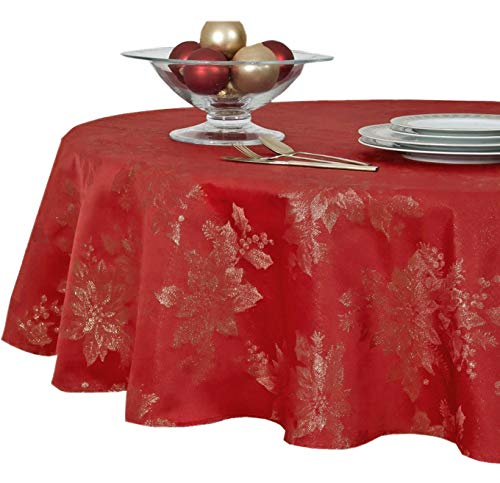Metallic Holiday Poinsettia Damask Christmas Holiday Tablecloth - 70 Inch Round, Red/Gold
