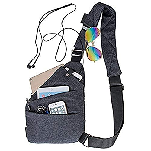 Sling Bag Chest Backpack Casual Daypack Black Shoulder Crossbody Lightweight Anti Theft Outdoor Sport Travel Hiking Bag For Men Women