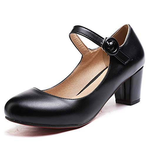 Odema Women's Oxfords Mary Jane Chunky Mid Heel Pumps Ankle Strap Shoes Black