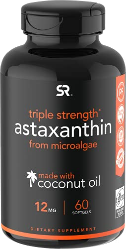 Triple Strength Astaxanthin (12mg) with Organic Coconut Oil | Non-GMO, Soy & Gluten Free - 60 Mini Softgels (2 Month Supply)