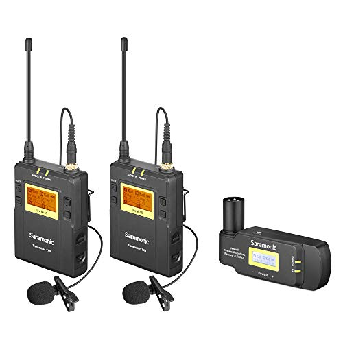 Saramonic UwMic9 UHF 96-Channel Omnidirectional Wireless Lavalier Microphone System Two Transmitters& One XLR Receiver for Nikon Canon Sony DSLR Cameras Camcorders for Field Recording,Interview,ENG,TV