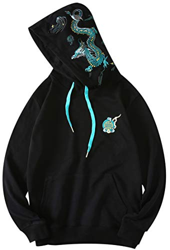 Chaos World Men's Embroidered Hoodie Print Hooded Sweatshirt Unisex Pullover(Blue Dragon,L)