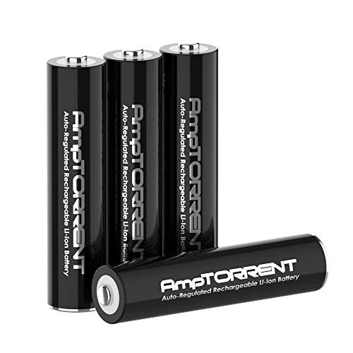 AmpTorrent Rechargeable Lithium/Li-ion Batteries AAA Rechargeable Batteries1100mWh High Capacity, 1.5V Constant Output, Fast Charging Batteries 4Pack