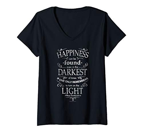 Womens Harry Potter Happiness Quote V-Neck T-Shirt
