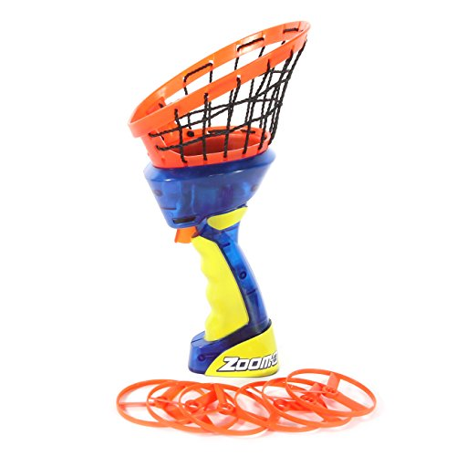 Zoom-O Flying Disc Launcher w/Catch Net | Catch and Shoot Plastic Discs Up to 100 Feet in Air | Fun Outdoor Toy for Boys and Girls
