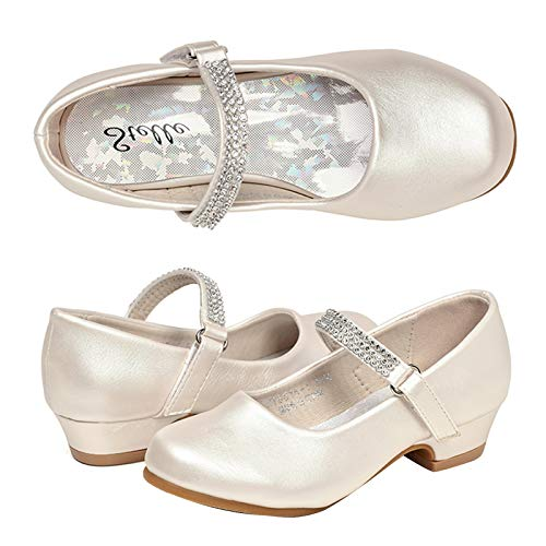 STELLE Girls Mary Jane Shoes Low Heel Party Dress Shoes for Kids (9MT, T02-Champagne)