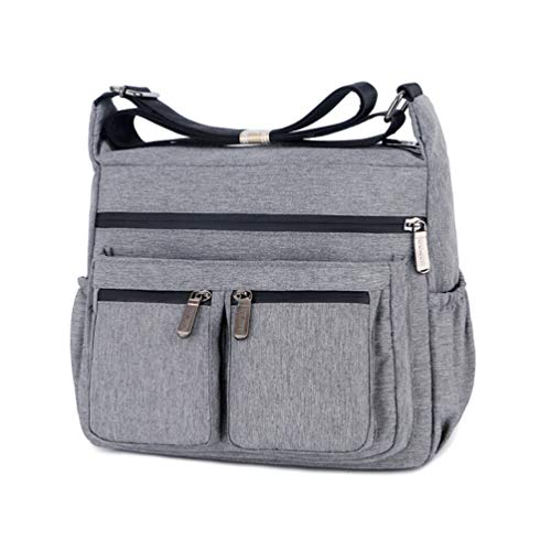 Women Casual Shoulder Bag Multi Pocketbooks Water-Resistant Messenger Bag Nylon Travel Purses and Handbags (Grey)