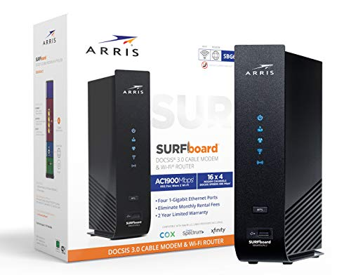 Arris SURFboard (16x4) Docsis 3.0 Cable Modem Plus AC1900 Dual Band Wi-Fi Router, Certified for Xfinity, Spectrum, Cox & More (SBG6950AC2),Black
