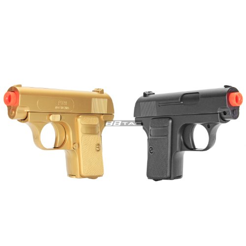 bbtac gold and black dual 618 airsoft sub-compact pocket pistols 110 fps spring concealable gun with storage case(Airsoft Gun)