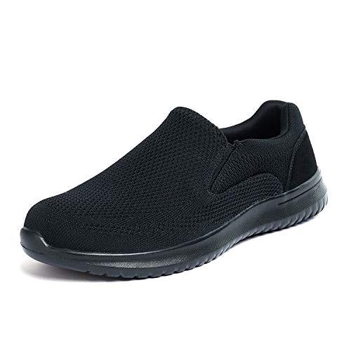 Bruno Marc Men's Slip On Loafer Shoes Mesh Walking Sneakers Walk-Easy-01 Black Size 9.5 M US