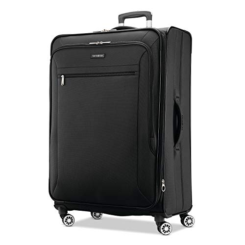 Samsonite Ascella X Softside Expandable Luggage with Spinner Wheels, Black, Checked-Large 29-Inch