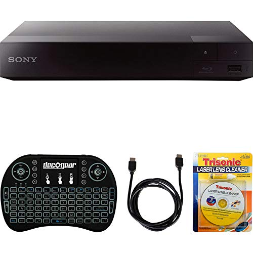 Sony BDP-S3700 Streaming Blu-ray Disc Player with Wi-Fi + Accessories Bundle Includes, 2.4GHz Wireless Backlit Keyboard with Touchpad, 6ft HDMI Cable and Laser Lens Cleaner for DVD/CD Players