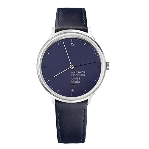 Mondaine Helvetica No 1 Wrist Watch Men (MH1.L2240.LD) Blue Marine Leather Strap, Silver Stainless Steel Case, Blue Dial, Grey Hands and Numbers
