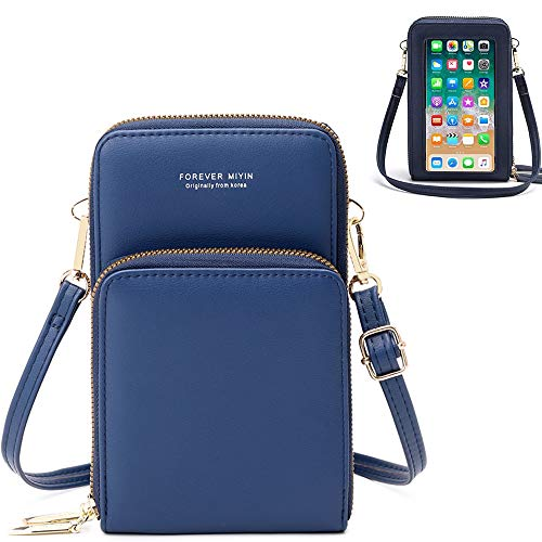 Girls Touchscreen Cell Phone Purse Handbag Wrist Bag Clutch with Crossbody Strap Card Slots for iPhone 12 Pro Max 11 Pro Max XS Max, OnePlus 7 Pro 8 Pro 7T Pro, 7T Pixel 4XL,3a Blu G90 Pro (Blue)