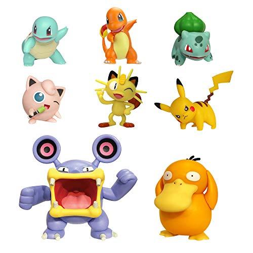 Pokémon Battle Action Figure Multi 8 Pack - Comes with 2' Bulbasaur, 2' Squirtle, 2' Charmander, 2' Pikachu, 2' Houndour, 2' Jigglypuff, 3' Haunter, & 3' Psyduck