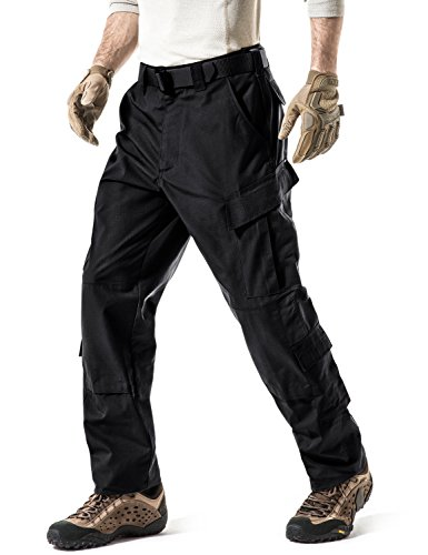 CQR Men's Tactical Pants, Military Combat BDU/ACU Cargo Pants, Water Repellent Ripstop Work Pants, Hiking Outdoor Apparel, Inspired Assault Pants Black, Large