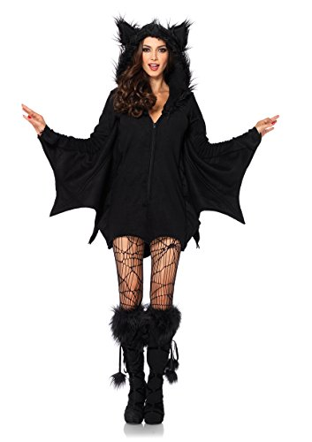 Leg Avenue Husky Boys Women's Cozy Black Bat Halloween Costume, X-Large