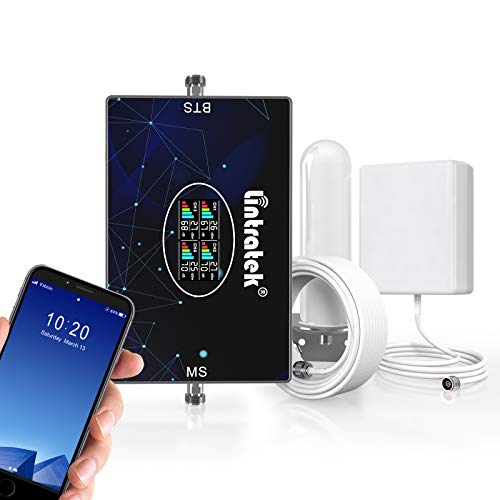 Lintratek Cell Phone Booster for Home and Office 3G 4G LTE Mobile Phone Signal Amplifier with Antenna Kit for Band 2/4/5/12/17 Support Verizon, AT&T, T-Mobile, Sprint, FCC Approved