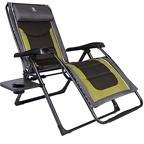 EVER ADVANCED Oversized Zero Gravity Chair, Cushioned XL Folding Lounge Recliner with Adjustable Headrest for Lawn,Patio,Camping, Outdoor, Indoor,Support 350lbs (Olive Green)