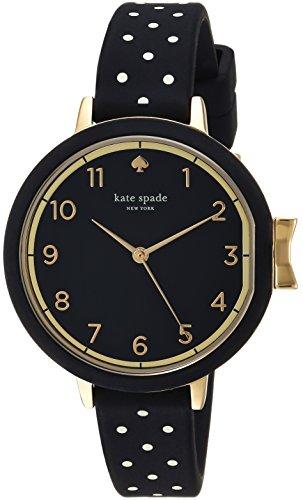 kate spade new york Women's Park Row Silicone Stainless Steel Japanese-Quartz Watch Strap, Black, 12 (Model: KSW1355)