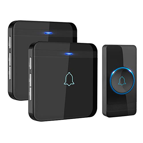 Wireless Doorbell, AVANTEK D-3B Waterproof Door Chime Kit Operating at over 1300 Feet with 2 Plug-In Receivers, 52 Melodies, CD Quality Sound and LED Flash