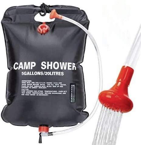 VIGLT Portable Shower Bag Blue PVC Travel Wash Kit Camping Accessory Set 5 gallon/20L for Outdoor Travel Camping/Hiking (Black)