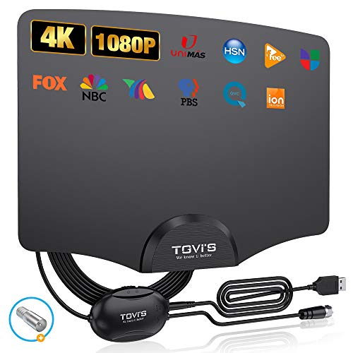 TGVi's TV Antenna Indoor, Amplified HDTV Digital Antenna for HDTV Up to 120 Miles Range,2021 Newest Powerful Amplifier Signal Booster, 4K 1080P Fire Stick UHF VHF Free HDTV Channels, 14ft Cable