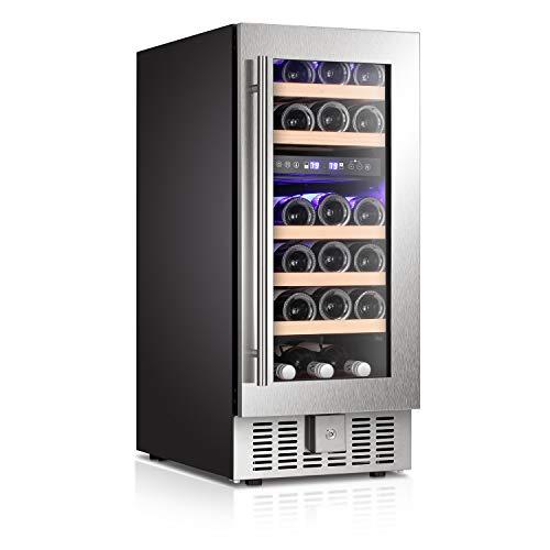 Antarctic Star 15' Wine Cooler Beverage Refrigerator Beer Mini Fridge 28 Bottles Dual Zone Built-in Freestanding Stainless Steel Double-Layer Tempered Digital Temperature Memory Function Glass Door