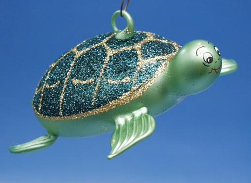 De Carlini Green and Gold Turtle Italian Mouthblown Christmas Ornament