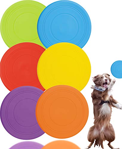 LeonBach 6 Pack 7' Soft Silicone Flying Discs, Flying Disc with Assorted Colors Soft Disc Flying Disc Bulk for Home School