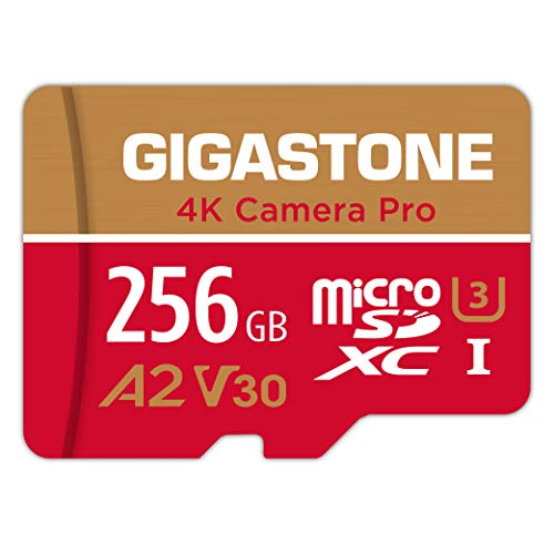 [5-Yrs Free Data Recovery] Gigastone 256GB Micro SD Card, 4K Video Recording for GoPro, Action Camera, DJI, Drone, Nintendo-Switch, R/W up to 100/60 MB/s MicroSDXC Memory Card UHS-I U3 A2 V30 C10