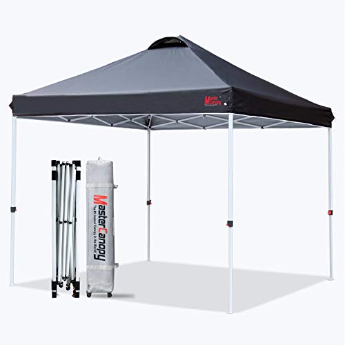 MASTERCANOPY Pop-up Canopy Tent Commercial Instant Canopy with Wheeled Bag,Canopy Sandbags x4,Tent Stakesx4(10'x10' Black)