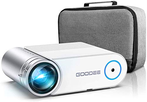 Projector, GooDee 2021 G500 Video Projector 6000L, 1080P and 200' Supported Portable Movie Projector with 50,000 Hrs Lamp Life, Home Theater Projector Compatible with TV Stick, HDMI, Phone (YG420)